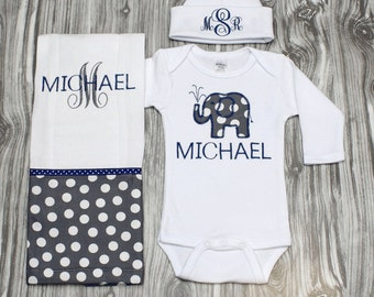 Personalized handmade goods for your little by chesapeakebayby gray and navy modern elephant baby gift set includes personalized bodysuit burp cloth and hat negle Images