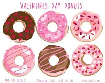 Valentine Clip Art - Valentine's Donuts -Donut Clip Art