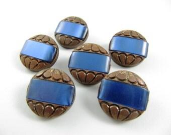 Lot of 6 Vintage 20 mm Copper & Blue Plastic Buttons***P-101