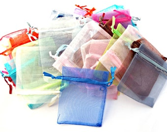 25 / 50 Organza Bags, Drawstring Bags, Wedding Favor Bags, Jewelry Pouch, Jewelry Gift Bag, Mixed Color, UK Seller, Bulk Organza Bags