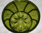"""Indiana Depression Glass EGG/RELISH TRAY; """"Tree of Life"""" in Dark Green. Heavy, 12.75"""" across, about 1"""" thick. Perfect dish for the holidays!"""