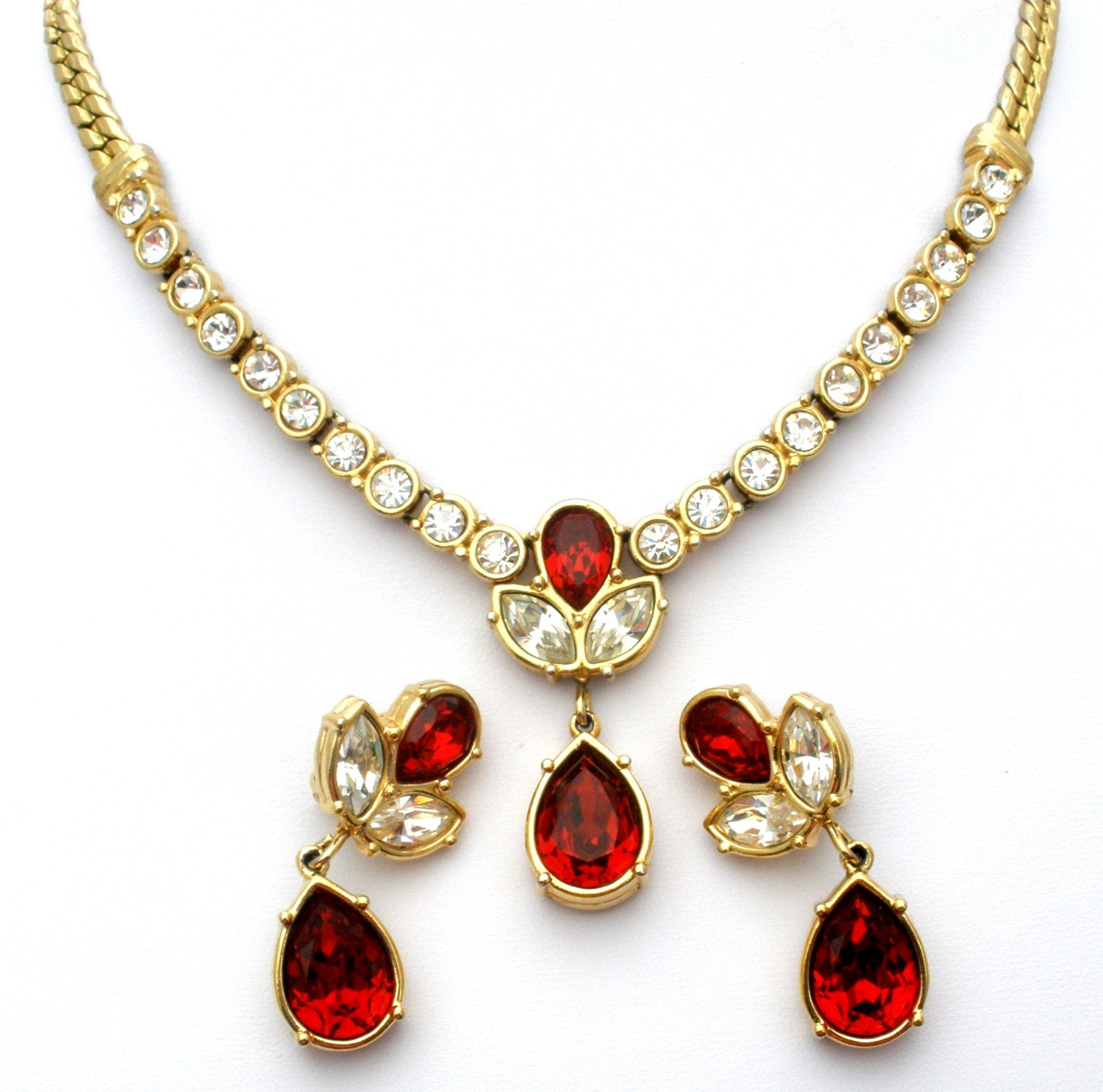Red Rhinestone Necklace Earrings Vintage by