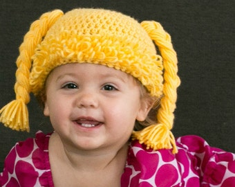 Cabbage Patch Doll Baby Hat / Wig - Crochet Baby Hat