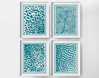 Coral Art, Nautical Sea Life, Beach Decor, Coastal Decor, Coral Sea Fan, Bathroom Decor, Nautical Decor, Coral Print Set, Beach Art, 0017