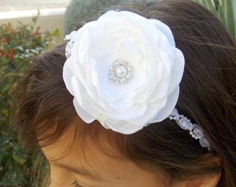White Christening Baptism Dedication Headband, Baby Girl Hair Accessories, Boho Lace fabric flower , Baby Girl Hair Bow, Wedding Hair Clip