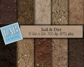 Soil and Dirt Digital  Paper - Ground Background  - Digital Paper - Instant Download Seamless Printable Garden Green Thumb for Personal Use