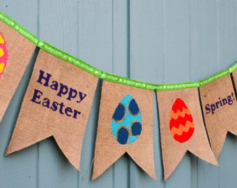 Happy Easter Bunting with multi coloured eggs in hessian 25th to 28th March 2016