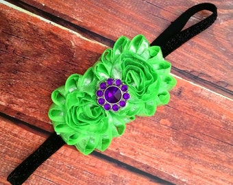 Hulk Headband- The Hulk Headband, Comic Headband, Headband, Birthday Headband, Purple and Green Headband, avengers headband