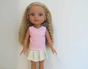 Hearts for Hearts Doll Pleated Skirt and Pink Checkered Tank Top