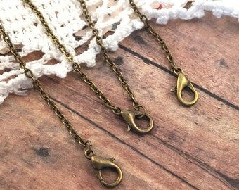 3 ~ Ready Made Necklace Chains, 2 mm Wide 74 cm Long Antique Bronze Vintage Jewelry Supplies