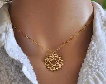 Fine Jewelry , Solid Gold Jewelry Necklace , 14k Gold Necklace ,  Mandala Pendant , Solid Gold Pendant , Gold Gift Idea