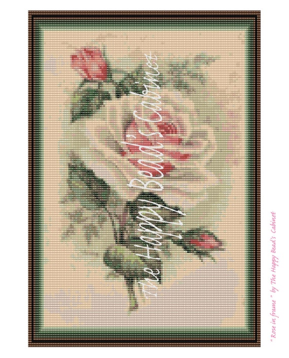 Wall Art Loom Kit : Items similar to bead loom pattern quot rose in frame