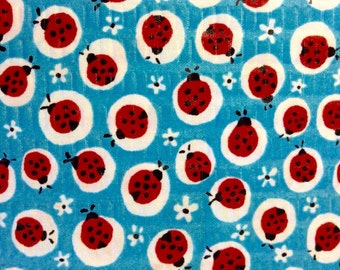 Last 17 Inches of Fabric Material - Lady Bugs