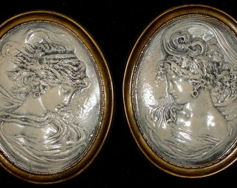 Vintage Wall Plaque Relief Cameo Style Victorian Women Set of 2