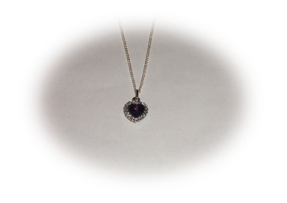 Heart crystal sterling silver chain necklace purple pendant Free Shipping US Only