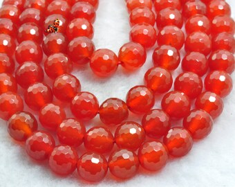 Carnelian faceted round beads 10mm,37 pcs