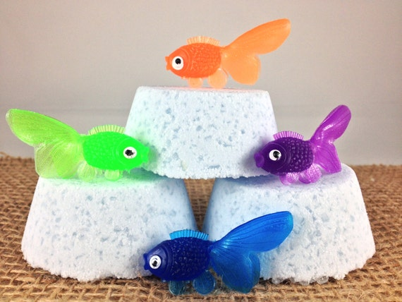 Gold fish bath bomb custom bath fizzies surprise by for Salt bath for fish