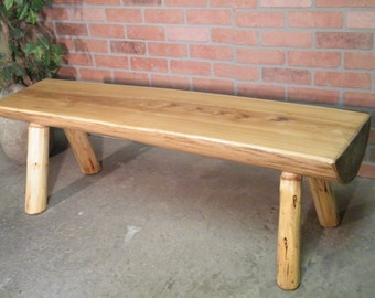 Bench,Log Bench, Handcrafted Bench White Ash