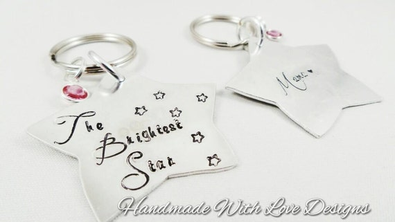 Memorial Star Hand Stamped Keyring