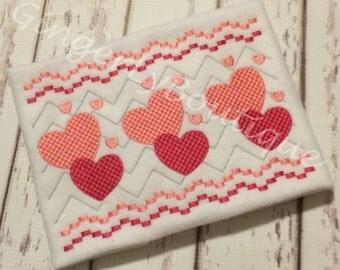 Valentine Hearts Faux Smocking Shirt or Bodysuit