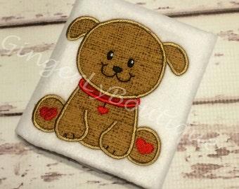 Puppy with Hearts Valentine Shirt or Bodysuit, Boy Heart Shirt, Boy Valentine Shirt, Valentine Shirt for Boy, Puppy Valentine Shirt