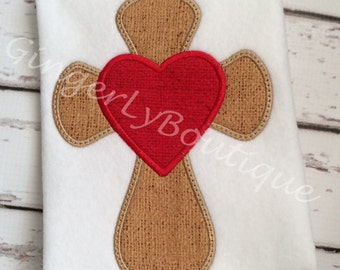 Cross with Heart Shirt or Bodysuit, Easter Shirt, Cross with Heart Shirt, Cross Shirt, Easter, Cross, Easter Cross