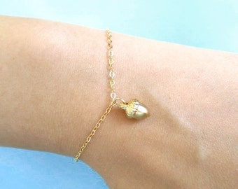 Gold, Acorn, Bracelet, Cute, Dainty, Jewelry, Birthday, Friendship, Best friend, Sister, Gift, Accessories, Jewelry