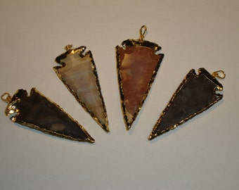 NEW! Raw Jasper Arrowhead Pendant Charm with 24k Gold Edging Crystal Quartz-JA0215