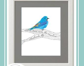 "Somewhere Over the Rainbow Wall Art Bluebirds Fly 8 x 10"" Printables, Encouragement, Positivity, Colorful Bird, Bluebird, Wall Art,"