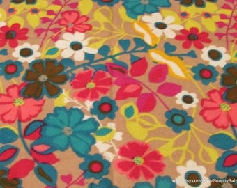 Flannel Fabric - Bright Floral - 1 yard - 100% Cotton Flannel