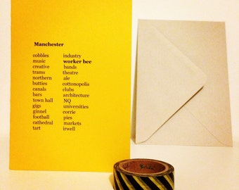 Manchester List Card in Mancunian Mustard