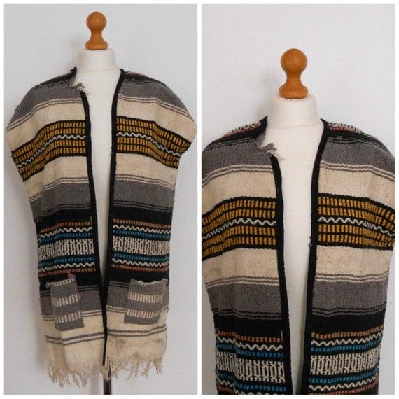 1960s 70s Hippie Poncho Vest Mexican Blanket Woodstock