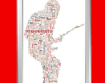 Personalised Framed Guitarist Word Art Cloud - Perfect gift for a musician, guitarist or music lovers