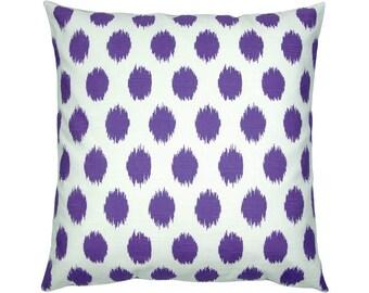 Cushion cover Ikatmuster linen optics JOJO purple violet white 50 x 50 cm