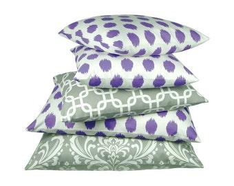 1 pillowcase Ikatmuster linen structure Jacobs 40 x 40 cm purple violet white