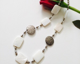 White Mother of Pearl Necklace.