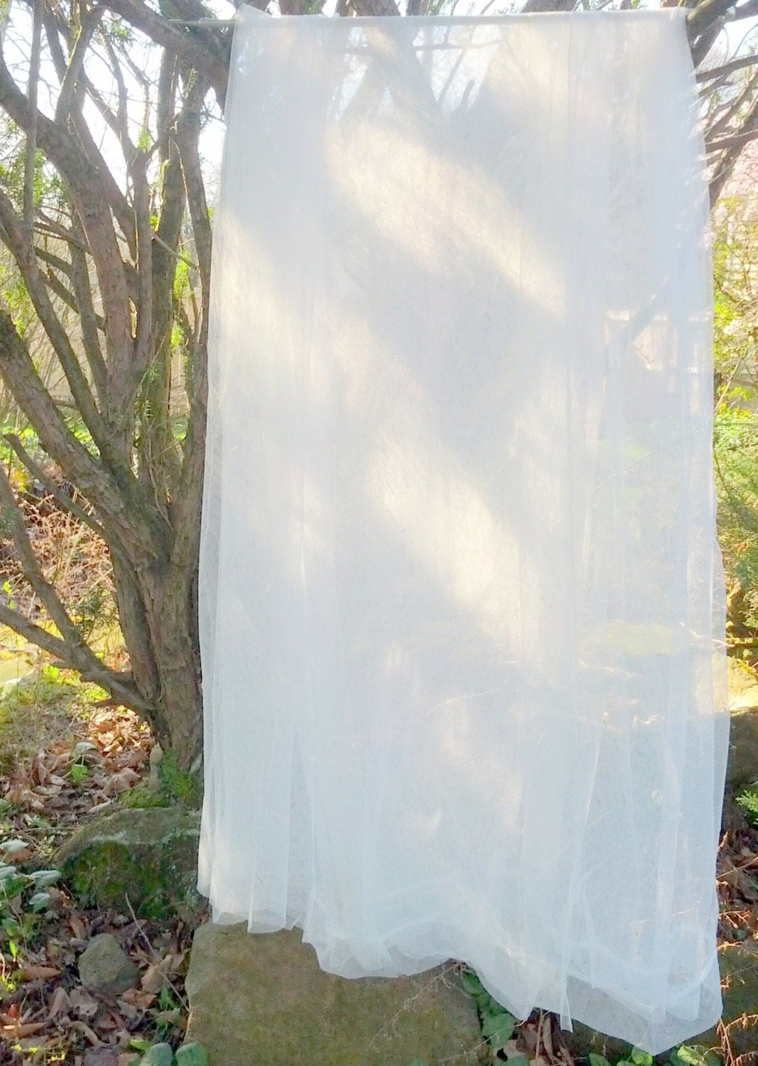 One White Outdoor Curtain Panel Sheer Net Lace Garden Rustic