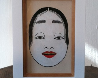 Acrylic and Ink Onna Kei Noh Mask with Gold Teeth