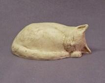 Handmade Ceramic  Sleeping Cat, Cat Figurine, Cat Sculpture, Ceramic Art