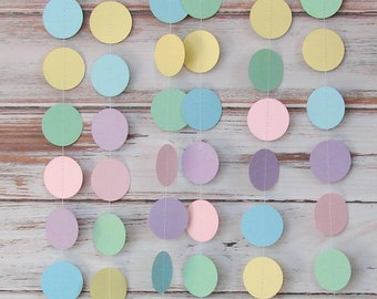 Pastel Paper Garland - Easter - Spring - Baby Shower - Nursery - Party Decor