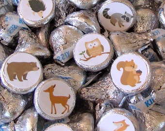 Forest Animals, Woodland Party  - Candy Sticker - Candy Labels - Hershey Kiss Sticker- Printed, Party Favor