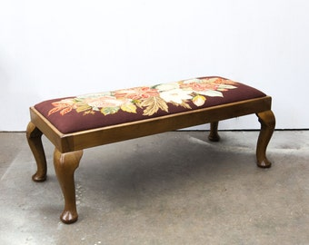 Beautiful Queen Ann Walnut Bench with Hand Stitched Needlework Seat