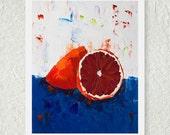 Navy Blue Decor, Dark Red Art, Fruit Still Life Print, Blood Orange, Kitchen Decor, Wall Art, 8x10 Print, Fine Art, Original Artwork