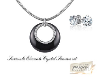 Swarovski elements crystal Sunrise set necklace & earrings Rhodium plated to last long and keep shinny.