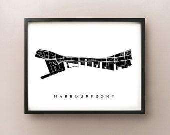 Harbourfront Map - Toronto Neighbourhood Art Print