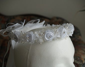 Communion Flower crown WHITE - flower girl crown white or Ivory # 2, Girls Floral Wreath, White Tiara, Garland Flower Head Piece