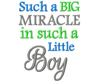 Such A Big Miracle in such a Little Boy Embroidery Design -INSTANT DOWNLOAD-