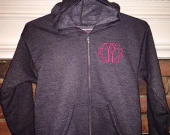Monogrammed Zipper Sweatshirt Jacket