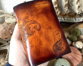 Fairy Flowers Passport Holder Cover / Deluxe Italian Leather / Engraved & Hand Dyed / Suede Lining / Special Edition