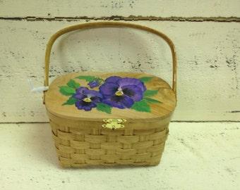 Basket - Purse Basket - Pansy Basket - Pansy Purse Basket - Pansies - Purple Flowers - Purple Flower Purse - Hand woven basket purse - Gift